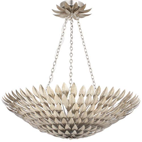 Broche Antique Silver Eight-Light Large Chandelier