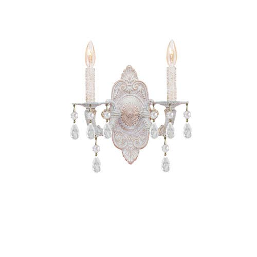 Abbie Antique White Wall Sconce Accented with Murrano Crystal