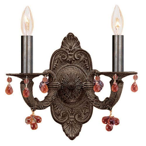 Crystorama Lighting Group Abbie Two-Light Venetian Bronze Wall Sconce with Amber Murano Crystal