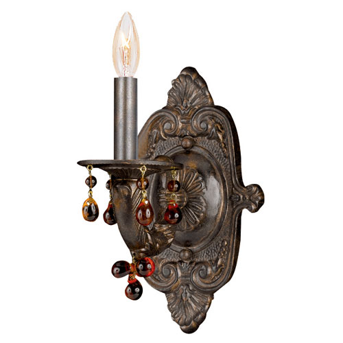 Sutton Venetian Bronze Natural Wrought Iron Wall Sconce with Murrano Crystal