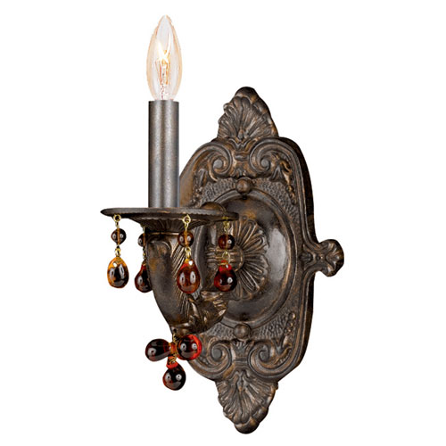 Crystorama Lighting Group Abbie One-Light Venetian Bronze Wall Sconce with Amber Murano Crystal