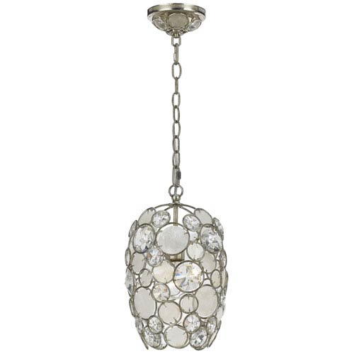 Palla Antique Silver One-Light Mini Pendant with Natural White Capiz Shell and Hand Cut Crystal