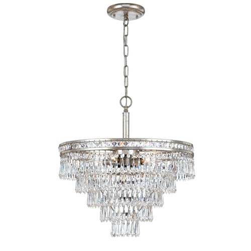 Crystorama Lighting Group Mercer Olde Silver Six Light Hand Cut Crystal Convertible Chandelier