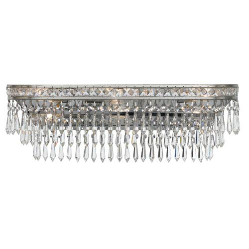 Crystorama Lighting Group Mercer Olde Silver Six Light Hand Cut Crystal Bath Fixture