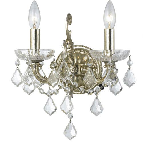Crystorama Lighting Group Highland Park Olde Silver Two Light Wall Sconce with Clear Swarovski Strass Crystal