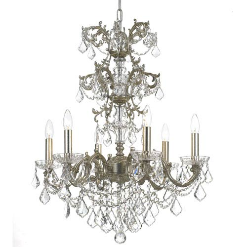 Crystorama Lighting Group Highland Park Olde Silver Six Light Chandelier with Clear Hand Cut Crystal