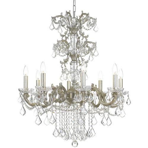 Crystorama Lighting Group Highland Park Olde Silver Eight Light Chandelier with Clear Hand Cut Crystal