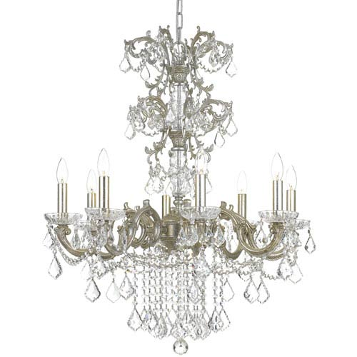 Highland Park Olde Silver Eight Light Chandelier with Clear Spectra Crystal