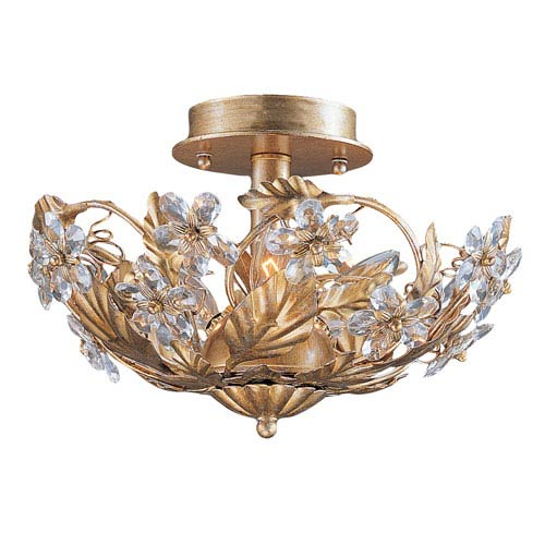 Abbie Three-Light Gold Leaf Semi Flush with Hand Cut Crystal