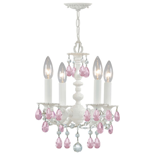 Paris Flea Market Wet White Four-Light Chandelier with Rose Colored Hand Polished Crystal