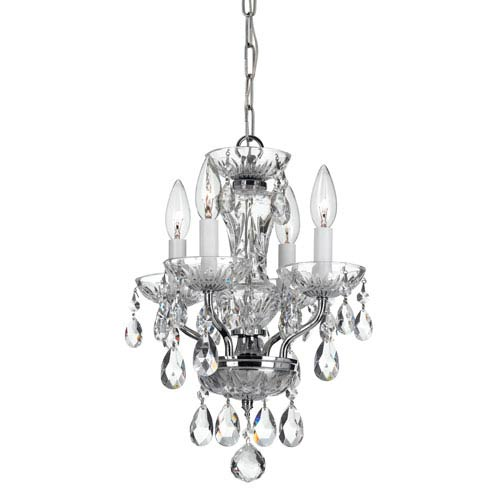 Traditional Crystal Chrome 11-Inch Four-Light Mini Chandelier