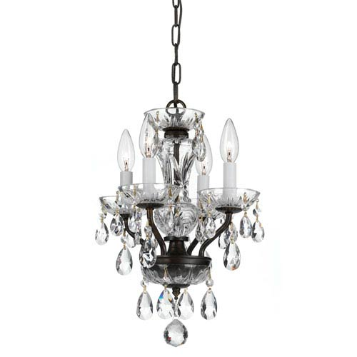 Crystorama Lighting Group Traditional English Bronze Four Light Chandelier with Clear Swarovski Strass Crystal