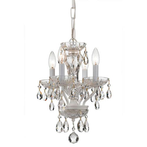 Crystorama Lighting Group Traditional Crystal Wet White 11-Inch Four-Light Mini Chandelier