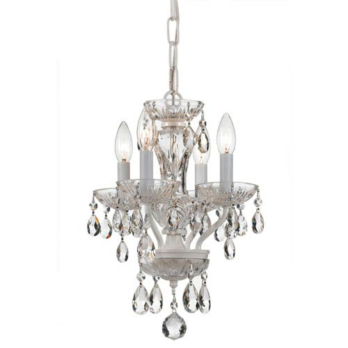 Crystorama Lighting Group Traditional Wet White Four Light Mini-Chandelier with Clear Swarovski Strass Crystal