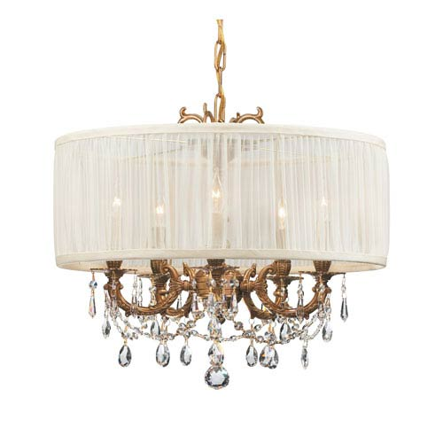 Crystorama Lighting Group Brentwood Ornate Casted Aged Brass Chandelier with Clear Hand Polished Crystal and Antique White