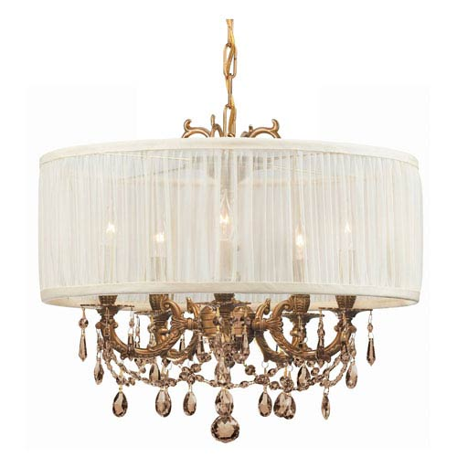Crystorama Lighting Group Brentwood Ornate Casted Aged Brass Chandelier with Golden Teak MWP Crystal and Antique White Shade