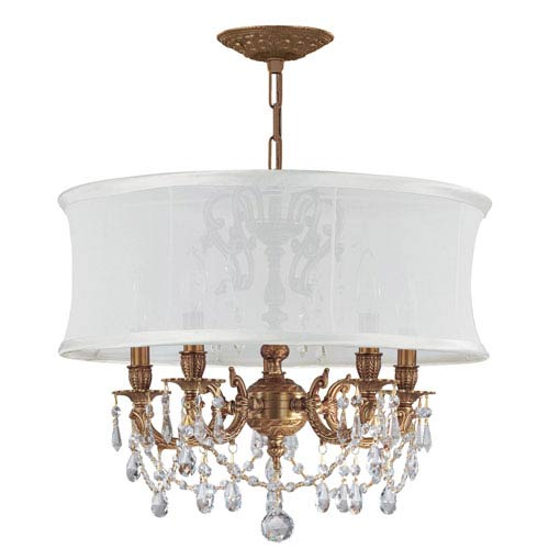 Brentwood Aged Brass Five-Light Chandelier with Swarovski Strass Crystal and Smooth Antique White Shade