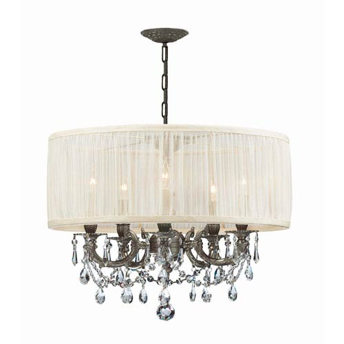Brentwood Ornate Casted Pewter Chandelier with Clear MWP Crystal and Antique White Shade