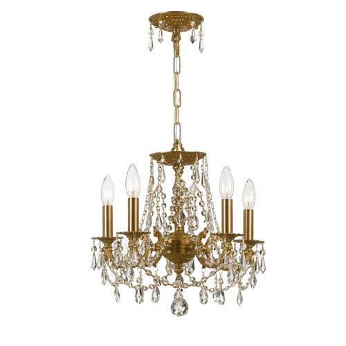 Crystorama Lighting Group Mirabella Aged Brass Five-Light Chandelier with Swarovski Strass Crystal