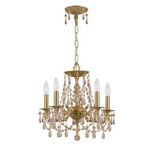 Mirabella Aged Brass Five-Light Chandelier with Golden Teak Swarovski Strass Crystal