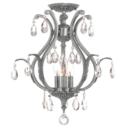 Crystorama Lighting Group Dawson Pewter 19.5-Inch Six Light Clear Crystal Semi Flush Mount