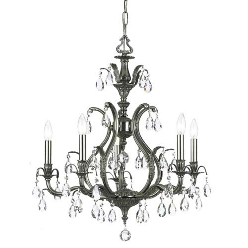 Crystorama Lighting Group Dawson Pewter Five-Light Chandelier with Hand Polished Crystal