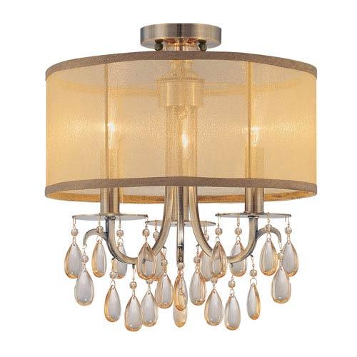 Crystorama Lighting Group Hampton Antique Brass Three Light Etruscan Crystal Semi Flush Mount