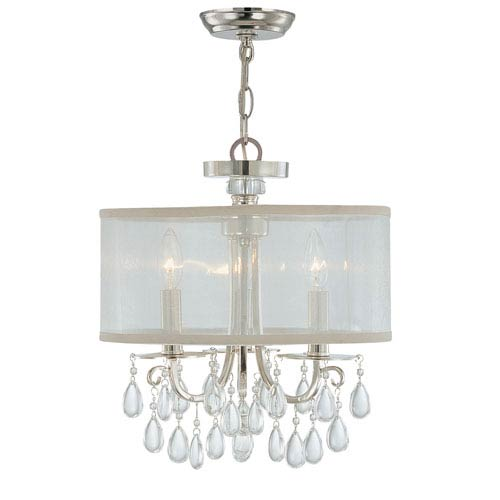 Crystorama Lighting Group Hampton Polished Chrome Crystal Three-Light Semi-Flush