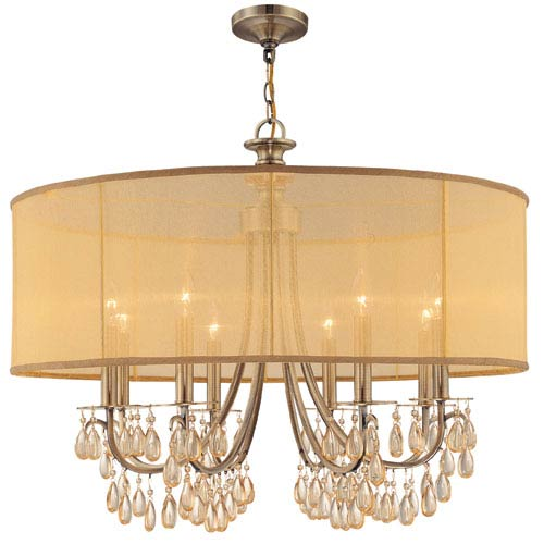 Crystorama Lighting Group Hampton Antique Brass Eight-Light Chandelier with Etruscan Smooth Oyster Crystal