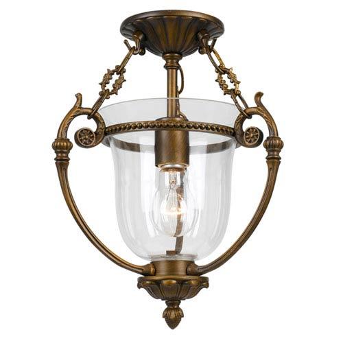 Crystorama Lighting Group Camden Brass One-Light Glass Ceiling Mount