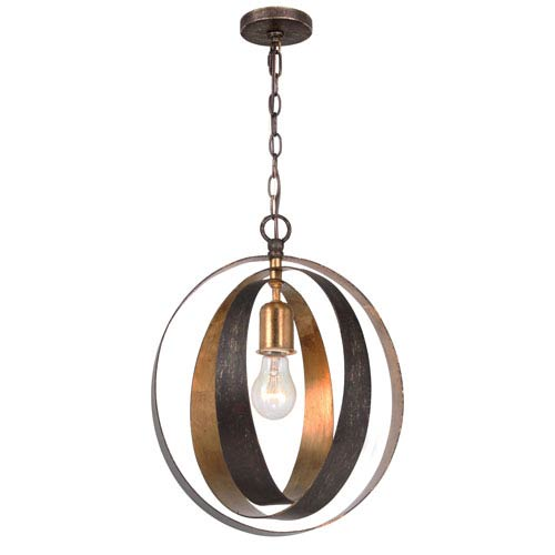 Crystorama Lighting Group Luna English Bronze and Antique Gold One Light Sphere Chandelier