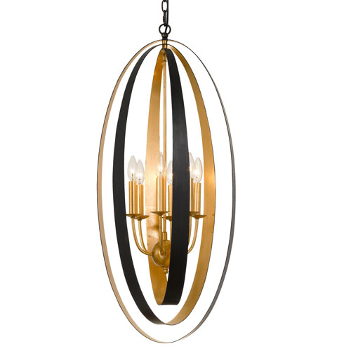 Crystorama Lighting Group Luna Six-Light English Bronze and Antique Gold Pendant