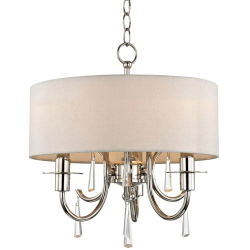 Cody Polished Nickel Three Light Mini-Chandelier with Clear Hand Cut Crystal