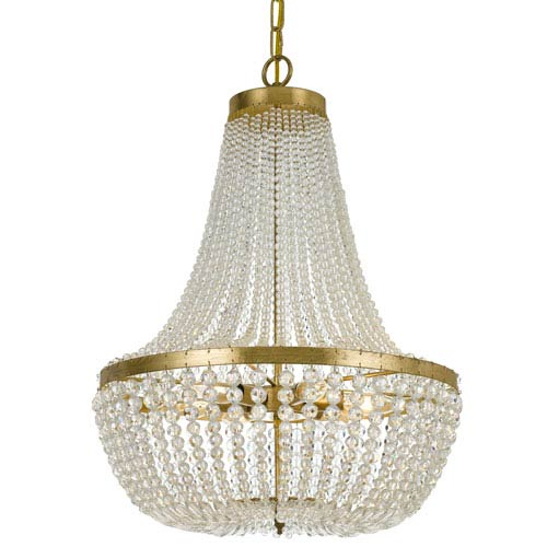 Crystorama lighting group rylee antique gold six light chandelier crystorama lighting group rylee antique gold six light chandelier with hand cut faceted crystal beads aloadofball Image collections