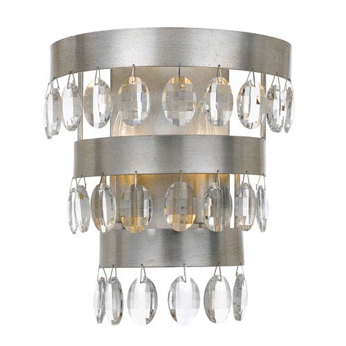 Perla Antique Silver Two Light Wall Sconce with Clear Elliptical Faceted Crystal
