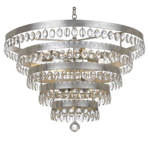 Crystorama Lighting Group Perla Antique Silver 9 Light Chandelier with Clear Elliptical Faceted Crystal