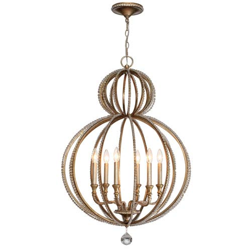 Crystorama Lighting Group Garland Distressed Twilight 37.5-Inch Six Light Chandelier with Hand Cut Crystal Bead