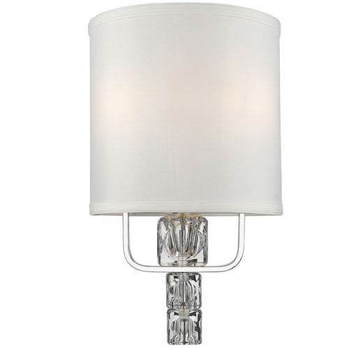Addison Polished Chrome Two Light Wall Sconce with Glass Ice Cube Crystal