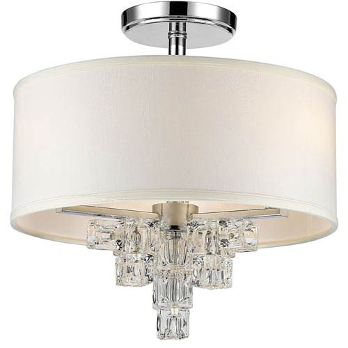 Addison Polished Chrome Three Light Flush Mount with Glass Ice Cube Crystal