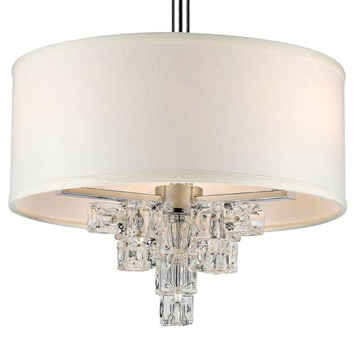 Addison Polished Chrome Three Light Mini-Chandelier with Glass Ice Cube Crystal