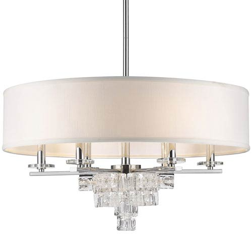Addison Polished Chrome Six Light Twenty Five Inch Chandelier with Glass Ice Cube Crystal