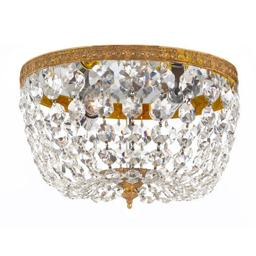 Crystorama Lighting Group Cortland Olde Brass Two-Light Crystal Flush Mount
