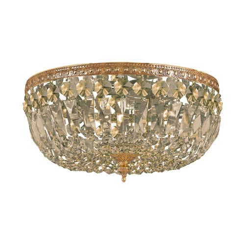 Crystorama Lighting Group Richmond Olde Brass Three Light Flush Mount with Hand Cut Golden Teak Crystal