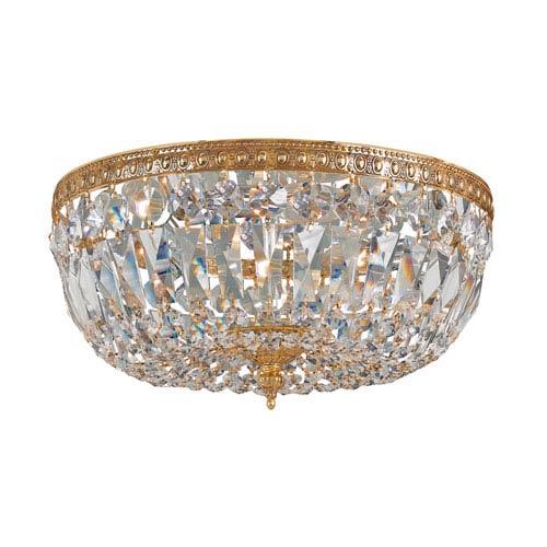 Crystorama Lighting Group Cortland Olde Brass Three-Light Crystal Flush Mount