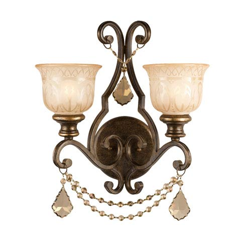 Norwalk Golden Teak Strass Crystal Wrought Iron Sconce with Amber Glass Pattern