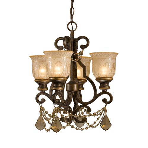 Fashion Forward Bronze Umber Golden Teak Crystal Four-Light Chandelier