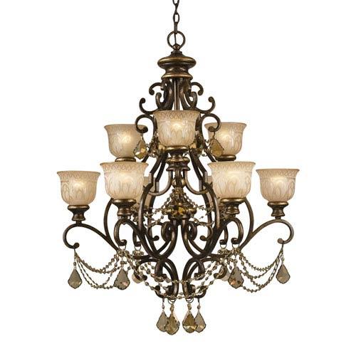 Crystorama Lighting Group Norwalk Golden Teak Strass Crystal Wrought Iron Nine-Light Chandelier with Amber Glass Pattern