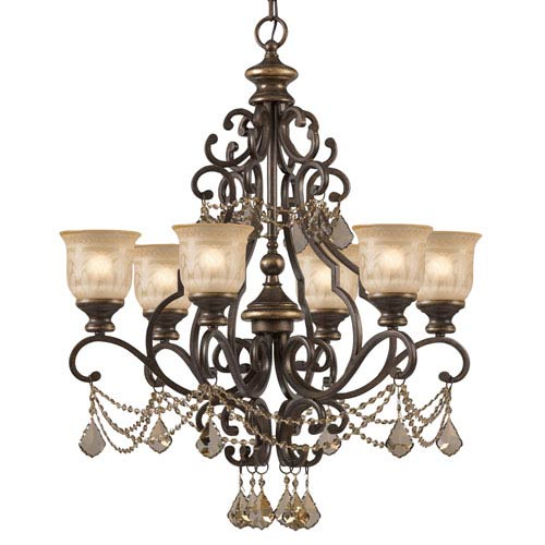 Norwalk Golden Teak Strass Crystal Wrought Iron Six-Light Chandelier with Amber Glass Pattern