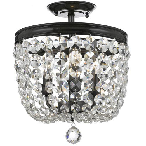 Crystorama Lighting Group Archer Vibrant Bronze Three Light Flush Mount with Clear Spectra Crystal