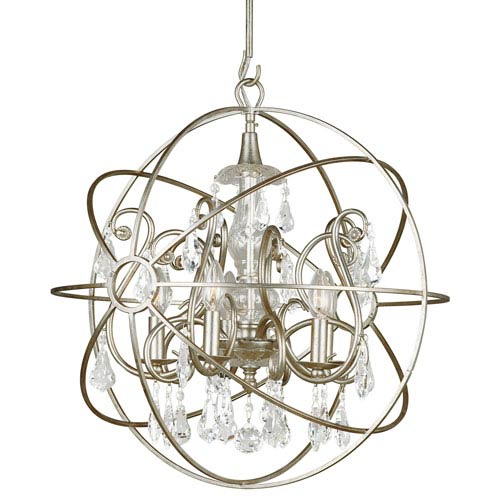 Crystorama Lighting Group Solaris Olde Silver Five Light Chandelier with Clear Swarovski Strass Crystal